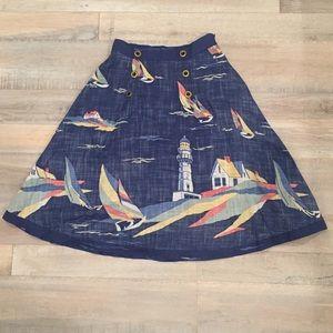 Anthropologie Odille Nautical Sailboat Midi Skirt